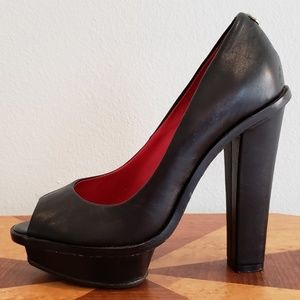Charles Jourdan sky high platform peep toe shoes 6